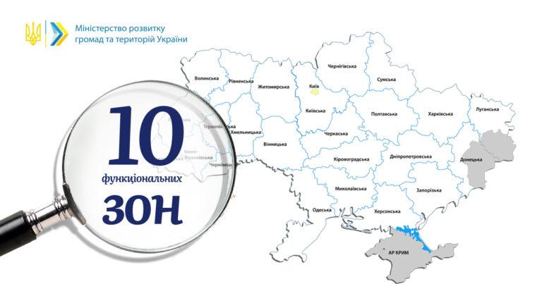 Територію України поділять на 10 функціональних зон